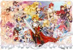 Tales of, Tales of Symphonia, Tales of Phantasia, Tales of the Abyss, Tales of Xillia, Tales of Graces, Tales of Destiny, Tales of Destiny 2, Tales of Hearts, Tales of Vesperia, Tales of the Tempest, Tales of Legendia, Tales of Innocence, Tales of Rebirth