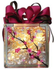 Cherry Blossom Glass Block by @Crafts Direct Click through link for project instructions.