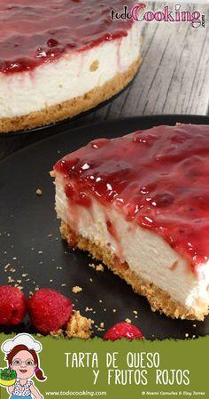 Receta fácil y rápida sin horno de la clásica tarta de queso y frutos rojos…