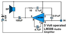 3 Volt Operated Power Amplifier Circuit Diagram. Amplifier Based on IC LM386