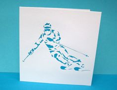 Ski Greeting Card Skiing Skier Snow Sports by Nikelcards Ski Card, Ski Decor, Colored Paper, Winter Sports, Blank Cards, Greeting Cards Handmade, Vintage Cards, Diy Cards, Paper Cutting