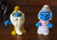 Smurfs Grandfather Grandpa & Nanny Smurf Vintage Figurines Toy Peyo Applause #ApplausePeyo
