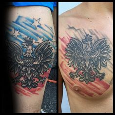 Watercolor Flag Mens Polish Eagle Upper Chest Tattoo
