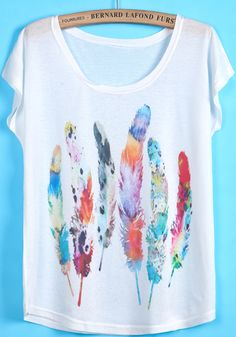 White Short Sleeve Feather Print T-Shirt - Sheinside.com
