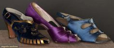 Three Pair Evening Sandals, 1930s, for upcoming auction.