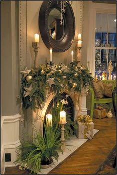 Beautiful Christmas Fireplace Decor Ideas - Page 10 of 50 Christmas Mantels, Noel Christmas, White Christmas, Christmas Trends, Christmas Candle, Diy Christmas Fireplace, Halloween Fireplace, Christmas Vignette, Christmas Crafts