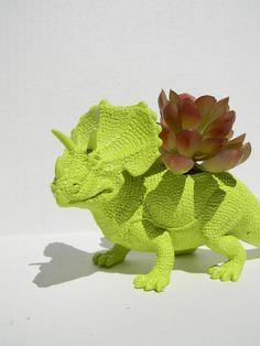 Triceratop Dinosaur Planter Green for Succulent Plant Great Dorm, Office Decor. $14.50, via Etsy.