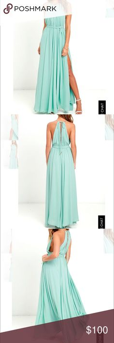 Lulus Sage Green Maxi Dress Beautiful maxi dress! NWT! Great fabric and very flattering. Great for a destination wedding! Lulu's Dresses Maxi