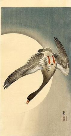"""Calligraphy of geese / against the sky / the moon seals it"" - YOSA Buson (1716-1784), Japan (painting by OHARA Koson)"