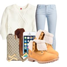 A fashion look from October 2014 featuring H&M sweaters, 7 For All Mankind jeans and Timberland ankle booties. Browse and shop related looks.