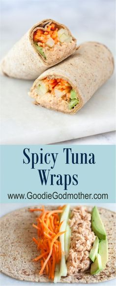 Quick and Easy Healthy Dinner Recipes - Spicy Tuna Wraps- Awesome Recipes For Weight Loss - Great Receipes For One For Two or For Family Gatherings - Quick Recipes for When You're On A Budget - Chicken and Zucchini Dishes Under 500 Calories - Quick Low C Spicy Recipes, Lunch Recipes, Seafood Recipes, Healthy Dinner Recipes, Healthy Snacks, Healthy Eating, Cooking Recipes, Easy Wrap Recipes, Apple Recipes