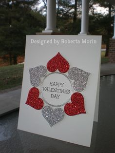 Red & Silver Valentine Hearts~ by stampin'nana – Cards and Paper Crafts at Splitcoaststampers Red & Silver Valentine Hearts~ by stampin'nana – at Splitcoaststampers Valentines Day Cards Handmade, My Funny Valentine, Valentine Day Crafts, Greeting Cards Handmade, Valentine Greeting Cards, Love Valentines, Sinful Colors, Stamping Up Cards, Homemade Cards