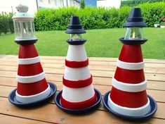 Garden DIY: At the beginning of summer we build a lighthouse Clay Pot Projects, Projects To Try, Diy Light House, Clay Pot Lighthouse, Garden Lighthouse, Lantern Crafts, Clay Pot People, Garden Seating, Shell Crafts