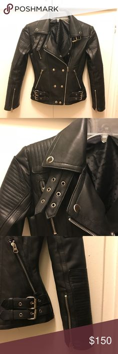 Black moto genuine nappa leather jacket 00 XXS NEW Beautiful NWOT real buttery soft leather moto jacket, made of nappa full grain smooth leather. No brand label but trust me the quality is 👌. Fully lined in black satin. Zip pockets, zipper in arms, slim fit. Can be worn with collar up or spread. Front zips and buttons up. XXS I bought this from Asia but it was too small for my comfort. Never worn. I have a few jackets, All Saints, Vince, And this is top quality, as good as my designer…