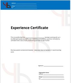work in hungree belly Experience Certificate Formats