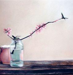 blank card   humming bird  vase  glass jar  by KatkasArtStudio