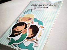 Cute mermaid stickers  pack of 8 by JoeyDesign on Etsy, $4.00