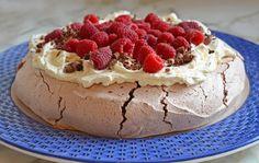 Double Chocolate Pavlova with Marscapone Cream & Raspberries