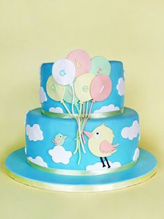 Balloon and bird cake Baby Cakes, Beautiful Cakes, Amazing Cakes, Fondant Cakes, Cupcake Cakes, Cloud Cake, Cake Decorating For Beginners, Pastry Design, Baby Shower Cakes For Boys