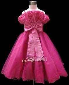 cae8c389c0697 Robe De Mariage Tenues Cortège Filles Enfant 7-9 ans Hot Rose Wedding Gown
