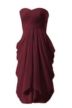 $110: DaisyFormals Short Strapless Chiffon Bridesmaid Dress(BM333)- Dark Scarlet