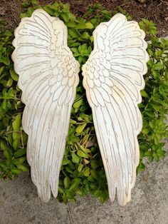 """Wood carved set of angel wings rustic home decor shabby chic angel wings From sizes 6"""" up to 35"""" Choose size in the drop down menus"""