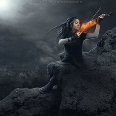 This is how I feel when I play... like my violin is on fire. :)   music art, woman, fiery violin.