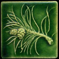 pine branch tile in the arts and crafts style Whistling Frog Tile Halloween Arts And Crafts, Arts And Crafts For Teens, Art And Craft Videos, Arts And Crafts House, Easy Arts And Crafts, Crafts For Seniors, Arts And Crafts Interiors, Arts And Crafts Furniture, Art Nouveau Tiles