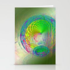 Gateway to other worlds by Wendy Townrow, gateway, world, universe, sci-fi, green, fractal, modern, unique, art, digital art, digital design, entrance, green, fantasy, bold, vibrant, illustration, #buyart, #society6, card, cards, card set, blank card, note card, greeting card