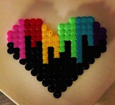 Colored heart perler beads