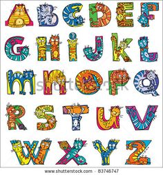 Illustration of colorful funny cat alphabet vector art, clipart and stock vectors. Letter P Crafts, Alphabet Letter Templates, Alphabet Charts, Letter Art, Alphabet Letters, Initial Wall Art, Graffiti Doodles, Letter Photography, Hand Lettering Alphabet