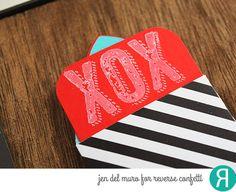 Valentine's Day envelopes by Jen del Muro. Reverse Confetti stamp set: Big Notes. Confetti Cuts: Mini Envie. Valentine's Day.