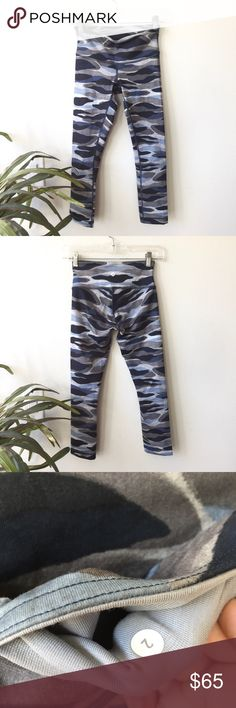 LULULEMON // Camo Cropped Leggings Blue and gray cropped camo leggings from Lululemon. Size 2. In great condition! Normal fabric wear but hard to tell, picture up close is the worst of it. lululemon athletica Pants Leggings