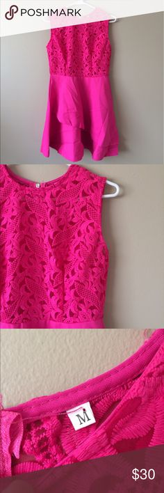 BOUTIQUE hot pink summer dress Boutique hot pink summer dress new without tags gorgeous lace on top and an assymetric look on the bottom size medium Dresses Asymmetrical