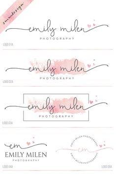 Fonts Handwriting Discover Premade branding kit heart logo and watermark Photography logo script logo design wedding logo watercolor logo business logo stamp 38 Photography Logo Design, Photography Packaging, Photography Business, Watermark Photography, Wedding Photography, Heart Photography, Artistic Photography, Photography Ideas, Logo Inspiration