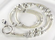 Beaded Lanyard ANTIQUE PEARL ID Badge Holder by curlynetto on Etsy Pearl Jewelry, Beaded Jewelry, Jewelery, Handmade Jewelry, Silver Jewelry, Lanyard Necklace, Bracelet Charms, Necklaces, Bracelets