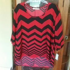 ** Chevron top NWT Red and black chevron.  New with tags Liberty and love  Tops Blouses