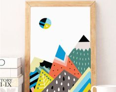 SALE, MOUNTAINS print Posters Wall Art Poster Moon Print Mountain Print Mountain Art Mountain Poster Moon Art Geometric Decor Geometric art