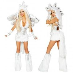 Our Deluxe Pegasus costume set includes a side-zipper halter style top with attached skirt and built in tail made of stretch woven faux leather and faux fur, matching Pegasus Hoot with fuzzy spikes, Pegasus Wings, matching Leg Warmers and Furry Gloves. $362,95 #SexyHalloween #DeluxeCostume #Sexy #Unreal #SexyFurry #SexyEDM #Halloween #Badkitty