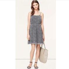 LOFT SPECKLED CHIFFON CAMI DRESS - NAVY! NEW ANN TAYLOR LOFT SPECKLED CHIFFON CAMI DRESS - NAVY. Size XS fits sizes S and M LOFT Dresses
