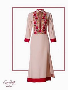 Mandarin Collar Kameez With Bright And Bold Floral Embroidery.
