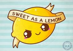 Funny Pun: Sweet As A Lemon by pai-thagoras Cute Food Drawings, Cute Kawaii Drawings, Doodle Drawings, Doodle Art, Easy Drawings, Funny Food Puns, Puns Jokes, Lemon Puns, Cute Pictures To Draw