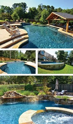 Yard slope may change the design of your swimming pool, but it won't prevent. - Pool Planning Help - Women's Need Sloped Yard, Sloped Backyard, Backyard Pool Designs, Swimming Pools Backyard, Swimming Pool Designs, Pool Landscaping, Lap Pools, Indoor Pools, Pool Decks