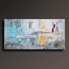 Decoración de pared de 48 x 24 amarillo gris blanco negro azul Magenta pintura Original contemporáneo moderno arte abstracto pintura abstracta-sin estirar-AB31