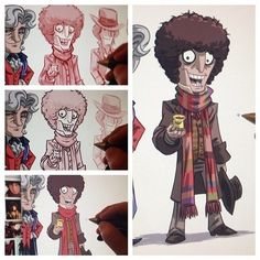Tom Baker as The Doctor 4th Doctor, Doctor Who Fan Art, Time Lords, David Tennant, Faces, Album, The Face, Face, Card Book