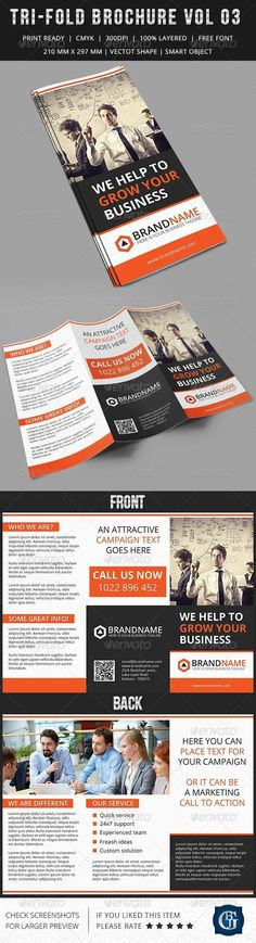 Corporate Multipurpose Trifold Brochure Vol 3 by GBJsolution GENERAL DESCRIPTION This tri-fold double sided Corporate Multipurpose Brochure is suitable for any kind of large or small business
