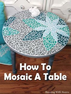 DIY Mosaic Table - Learn how to mosaic a table including how to transfer a design, cut tiles, and mix and apply grout. This complete step by step tutorial includes step photos and a downloadable, printable template. Great DIY home decor project! #diyhomedecor