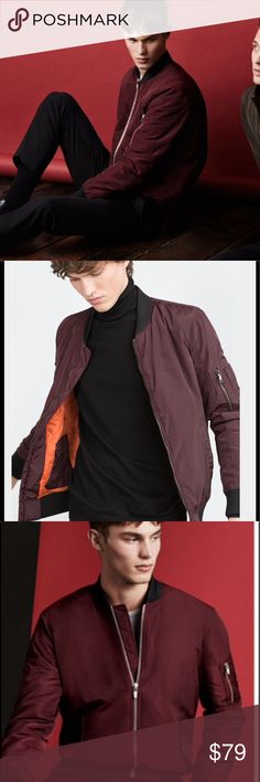 ZARA MAN 2016 / 2017 BOMBER JACKET Burgundy Color Casual cool bomber jacket featuring a modern twist on a classic, mixing shiny autumn tones with modern metallic finishes. Used once. Perfect condition. We leave in Texas so there is no use for this kind of jacket here! Very cool looking no stains no smells. Zara Jackets & Coats Bomber & Varsity