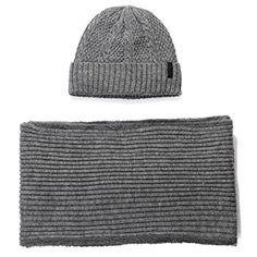 70dea29a123 2 Piece Wool Knit Hat   Scarf Sets Fleece Lined Winter Beanie Neck Warmer -  - - Hats   Caps