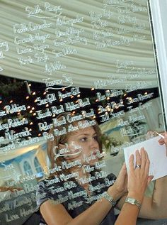 Write your guests' names on a mirror to make the seating plan. More mirror and frame ideas at http://www.toptableplanner.com/blog/mirror-and-frame-wedding-seating-plans